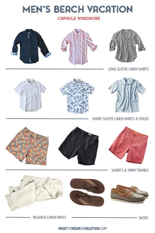 Men's Capsule Wardrobe for a Beach Vacation #beachvacationclothes