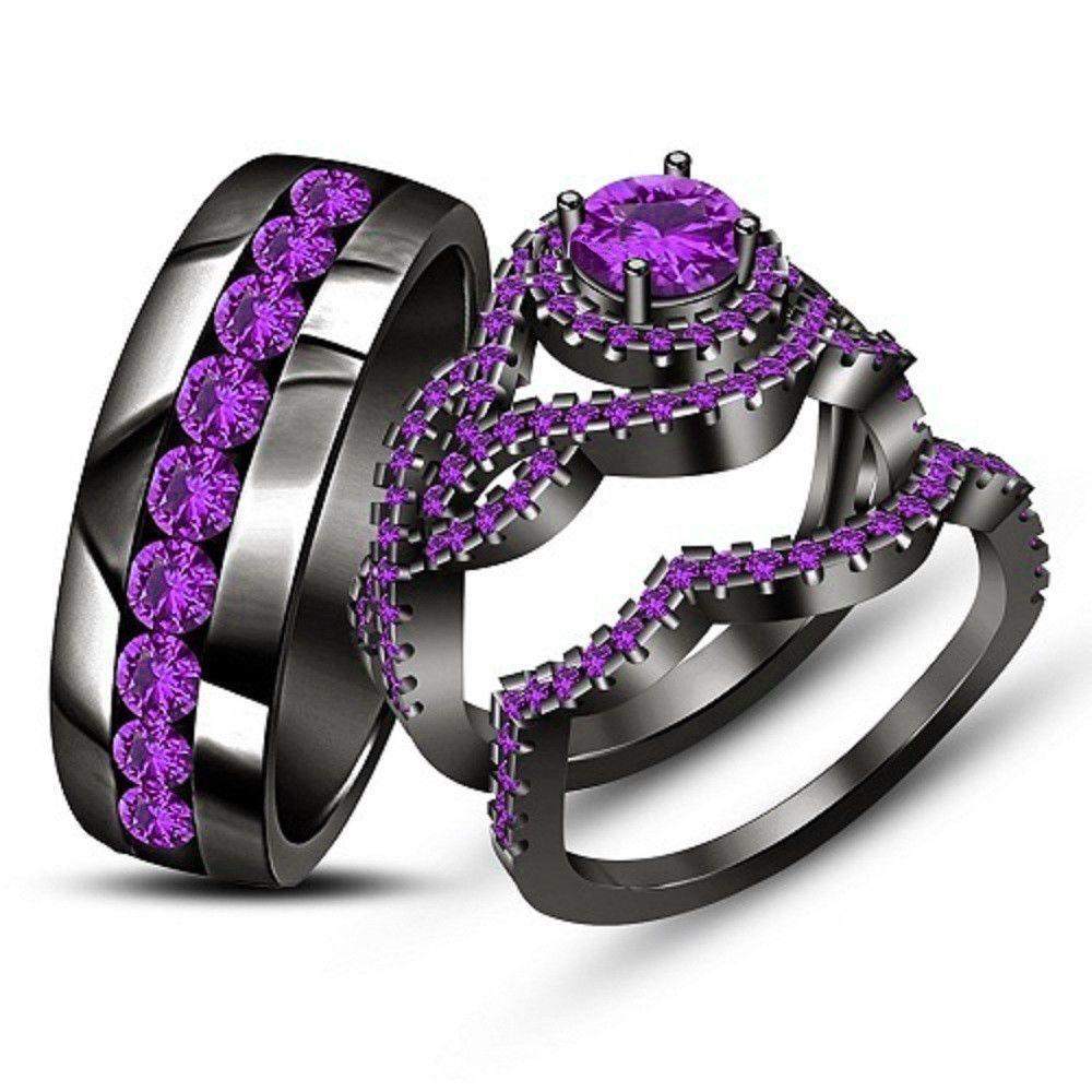 230 ct purple amethyst his her wedding band bridal trio