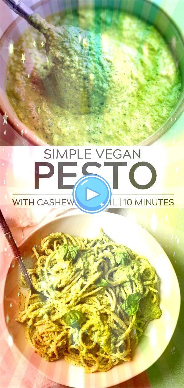Vegan Pesto Recipe oil free and made with cashews for a cheesy buttery fl Easy Vegan Pesto Rezept ölfrei und mit Cashewnüssen für ein käsiges butterar...