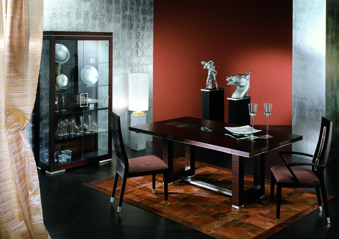 Sleek Modern Dining Room Table Chairs And Curio Real Zebrano