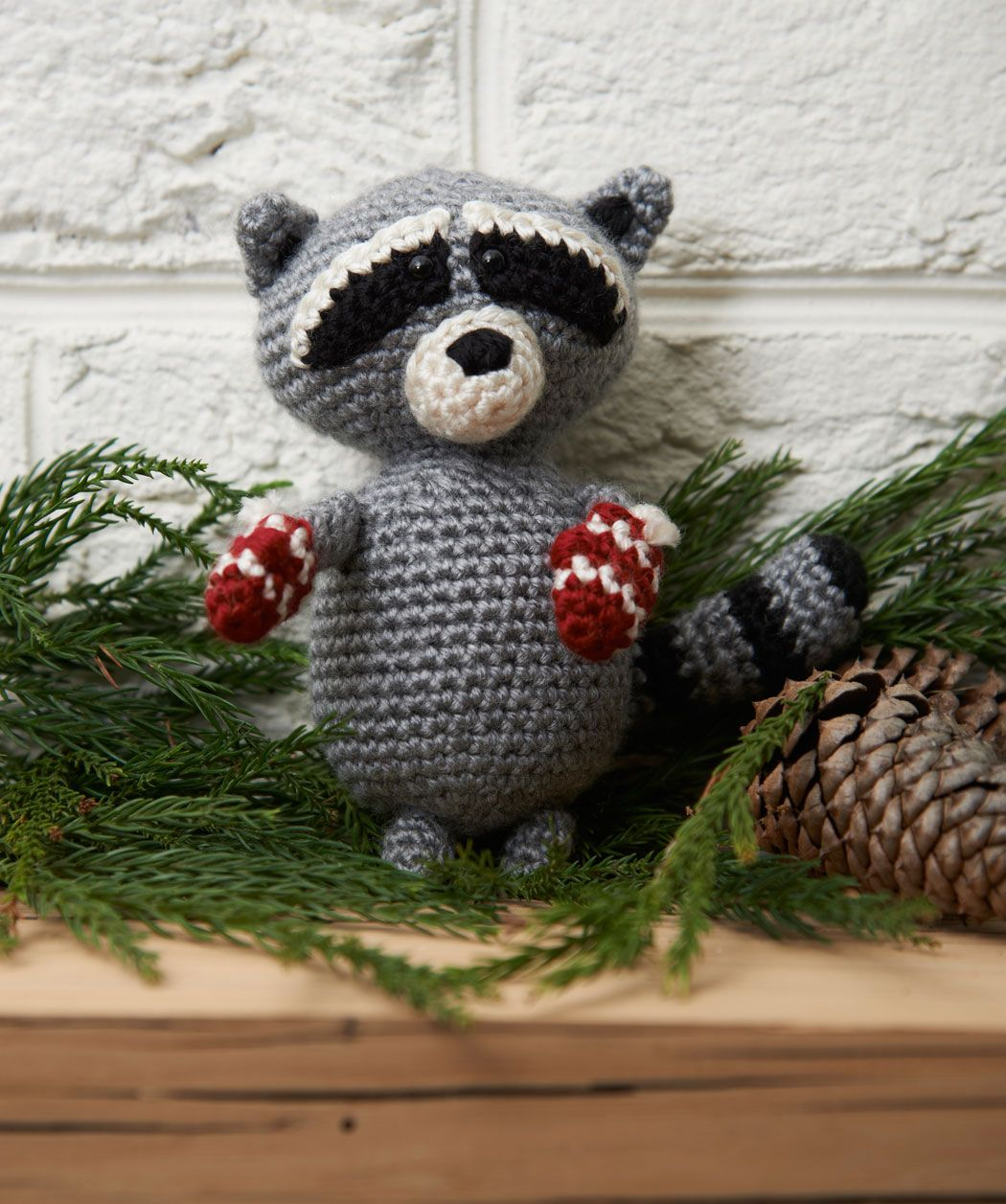Free Red Heart pattern for a crochet Raccoon winter holiday Ornament ...