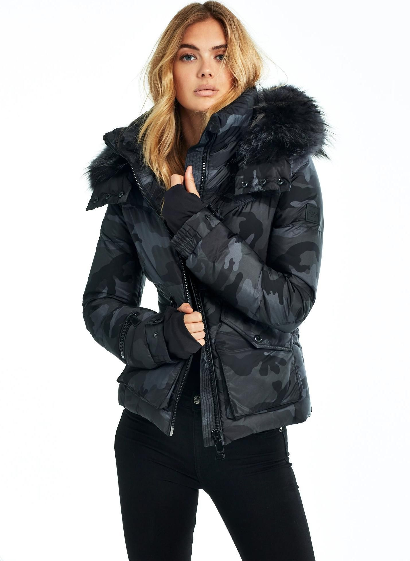 Camo Fur Jetset Sam Fur Hood Jacket Luxury Outerwear Womens Camo [ 1958 x 1429 Pixel ]