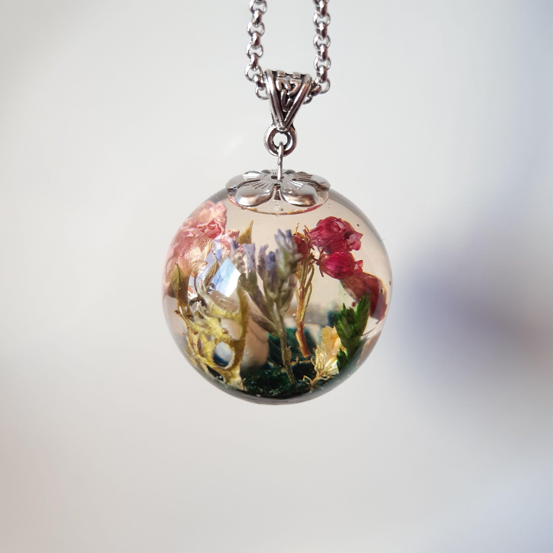 Rose pendant, forest pendant, pink pendant, flower pendant, flower jewelry, gift for her, botanical pendant, terrarium pendant, boho vintage