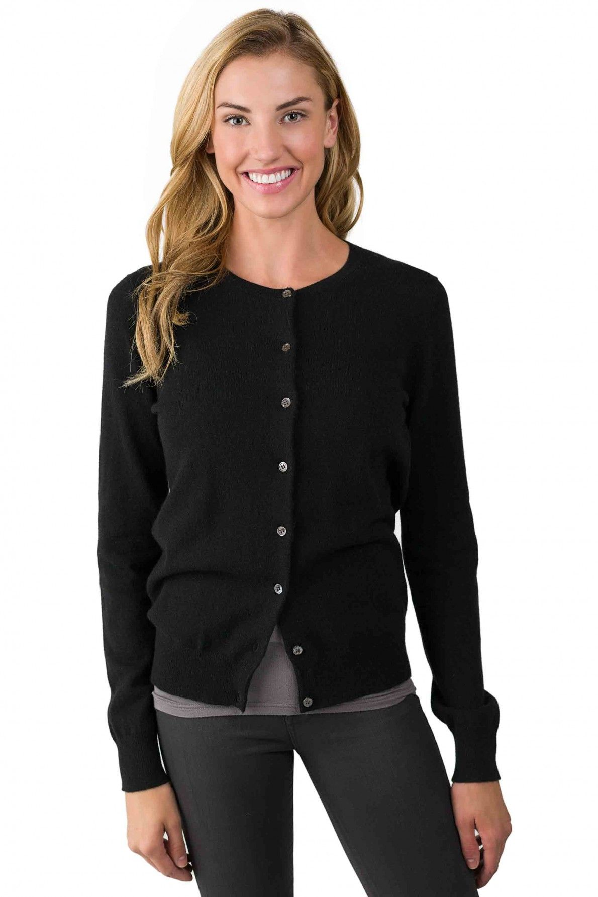 Black Cashmere Button Front Cardigan Sweater right front view | A ...
