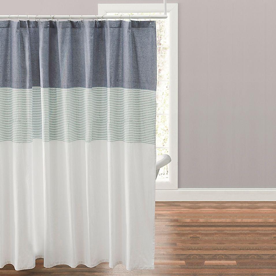Nora 72 X 96 Shower Curtain In Navy In 2020 Curtains Vinyl