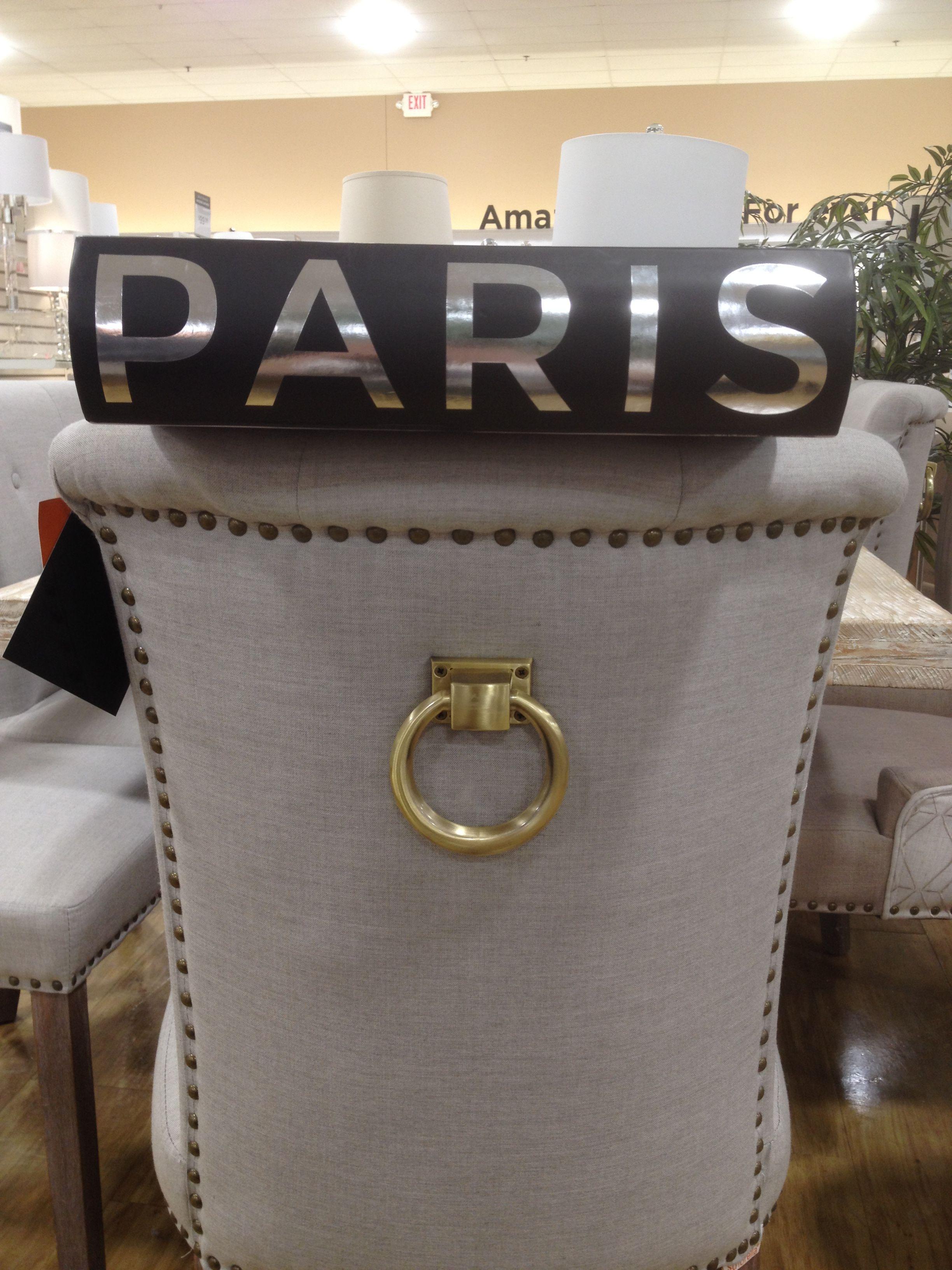 30/30/17 - Grey-beige chair - Gold doorknocker style accent - Nail head trim