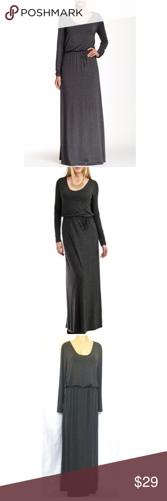 American twist gray maxi dress xl long sleeve draw my posh closet