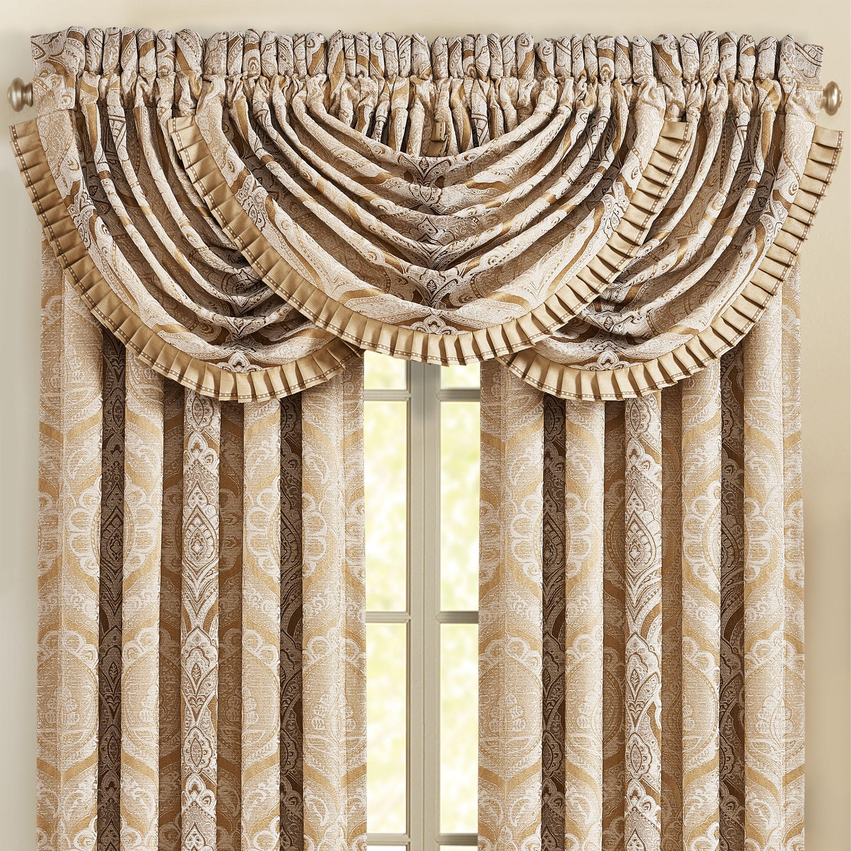 Five Queens Court Giodana Window Waterfall Valance Gold 100 Polyester Damask Waterfall Valance Custom Drapes Gold Window Treatments