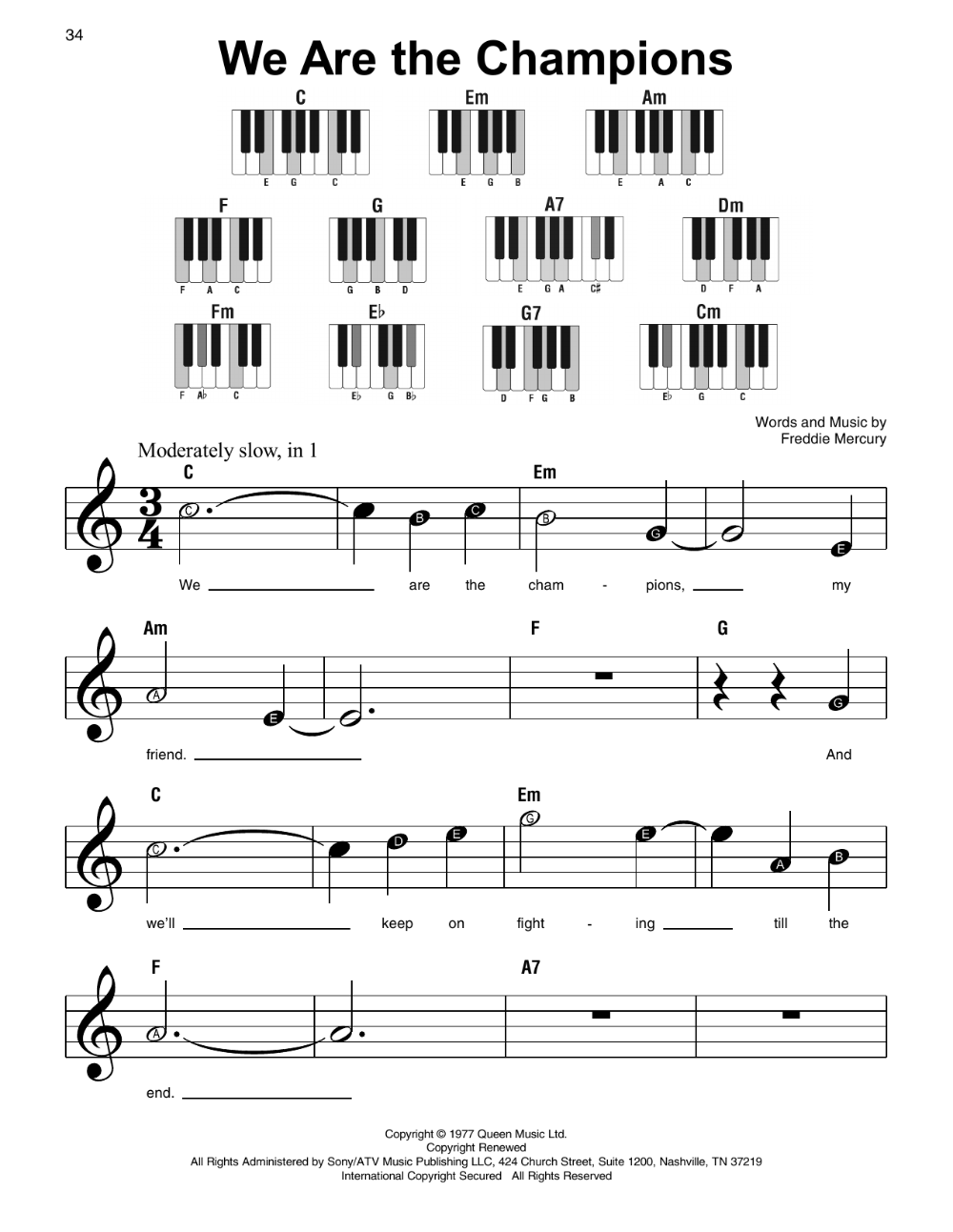 we are the champions sheet music | queen | super easy piano | easy piano  sheet music, sheet music, piano sheet music free  pinterest