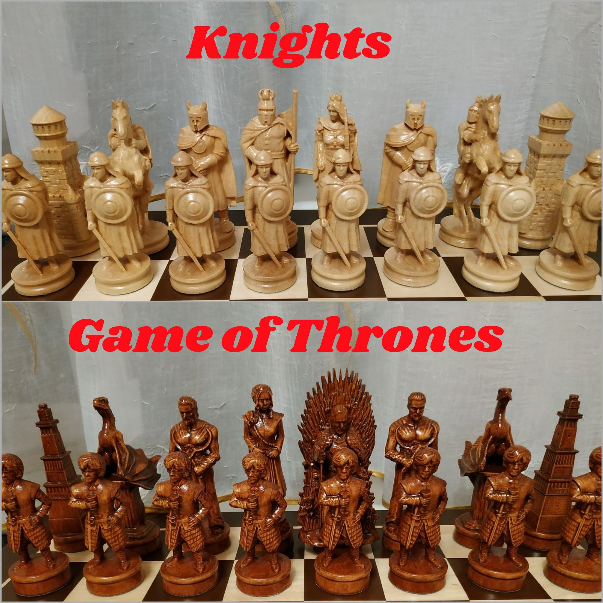 Chess Pieces Game Of Thrones Knights Large High Pieces Wood Etsy Board Game Pieces Chess Pieces Wood Carving Set