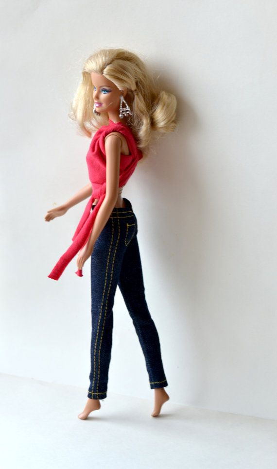 Barbie clothes jeans yellow seam  Barbie stretch by KUKLAfashion