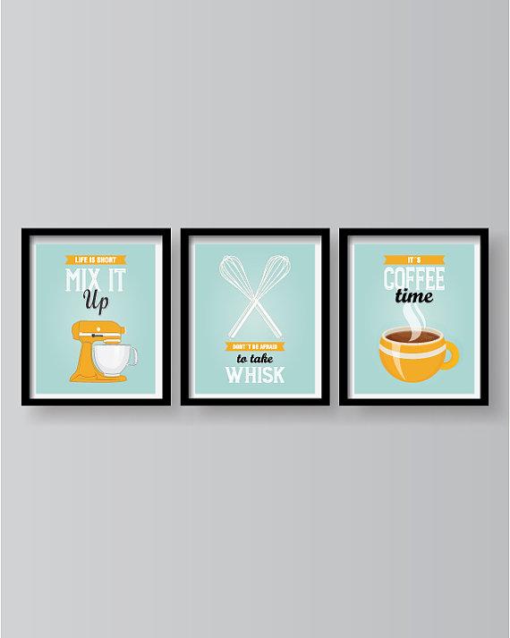 Kitchen Prints Carpets Turquoise Decor Wall Art Posters Mix It Up Set Of 3 D