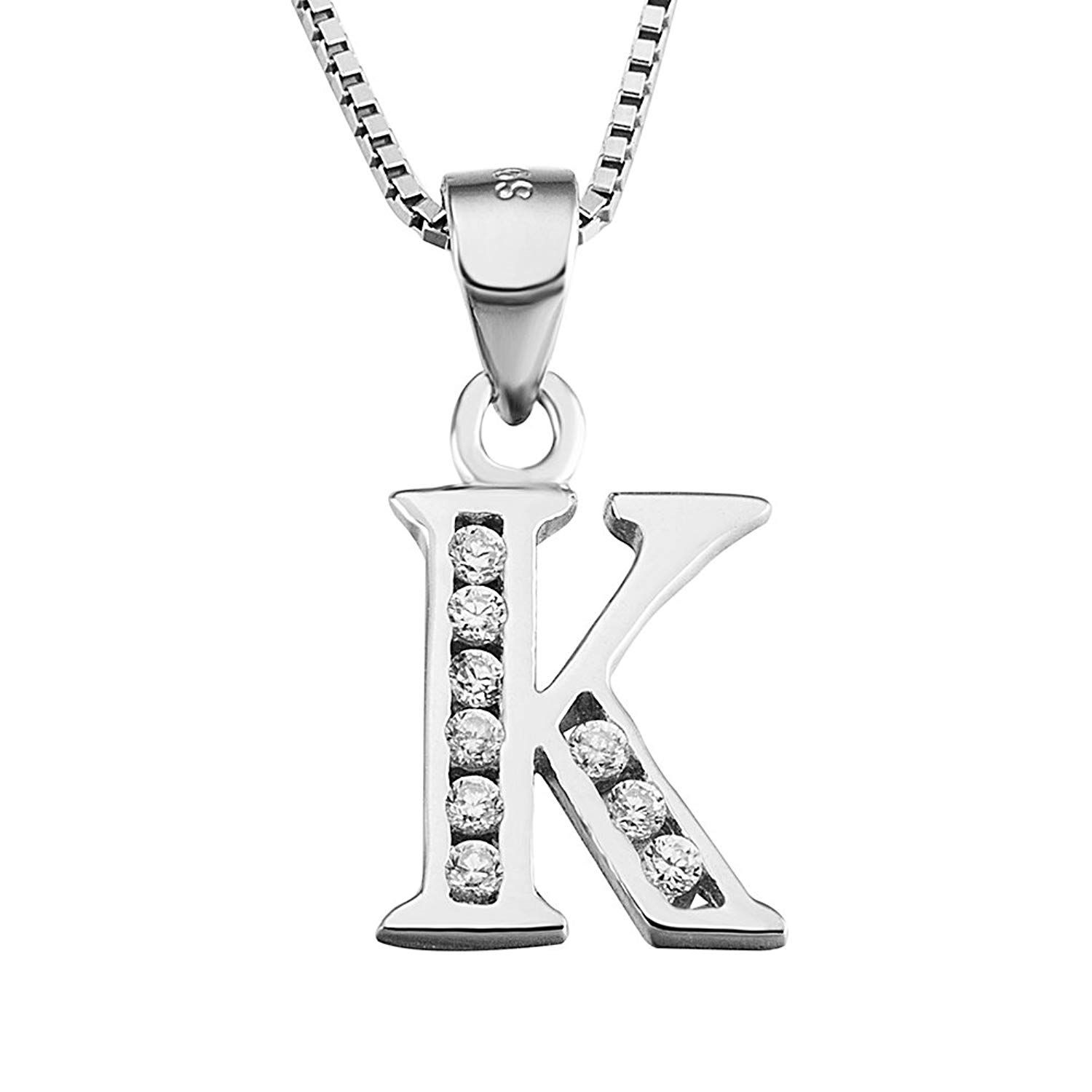 34700c18e39cc0 S925 Sterling Silver Cubic Zirconia 26 Letters Alphabet Personalized Charm  Pendant Necklace >>> Find out more about the great product at the image  link.