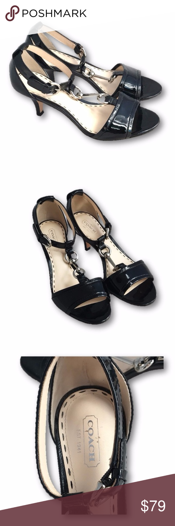 0fc202c1828 COACH Black Patent Leather Peep toe Kitten Heel Coach Black Patent Leather  Inez Kitten Heel with Open Toe. Silver Hardware Accent. 2.5