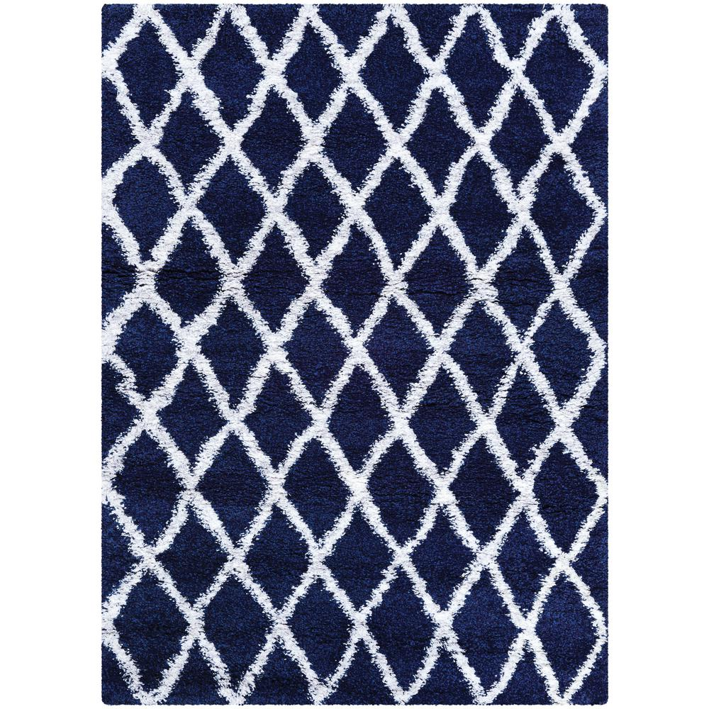 Couristan Urban Shag Temara Navy Blue White 7 Ft X 10 Ft Area Rug Blue White Rug White Area Rug Area Rugs