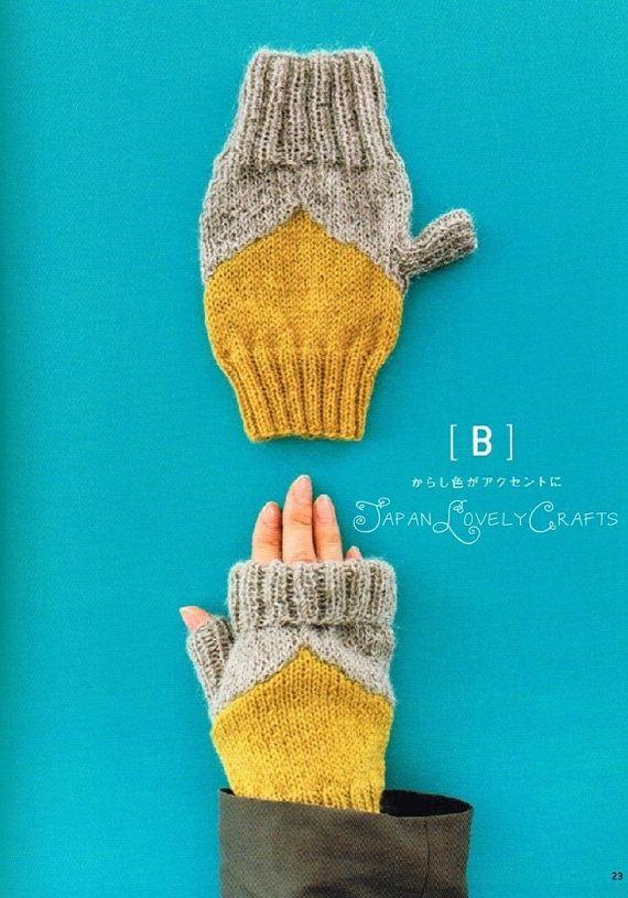Colorful Fingerless Knit Mittens & Wrist by JapanLovelyCrafts ...