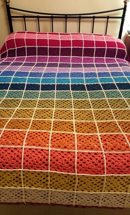 I am so happy with my 1st crochet granny square blanket. This has taken me 7 weeks from start to finish. I used the Attic24 stylecraft pack of wool http://www.woolwarehouse.co.uk/attic24/attic24-sunny-stylecraft-special-dk #grannysquares #grannyblanket #rainbow #attic24inspired #handcrafted #afghan #blanket ##multicolured #crochet #throw #stylecraft #yarn #bedspread #wool #creative #selftaught #gradient #bright #project #7weekstomake #makeyourown