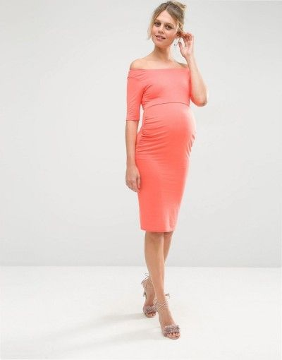 Coral half sleeve bardot dress: http://www.stylemepretty.com/living/2016/09/02/10-gorgeous-maternity-dresses-for-the-mama-to-be-bump/