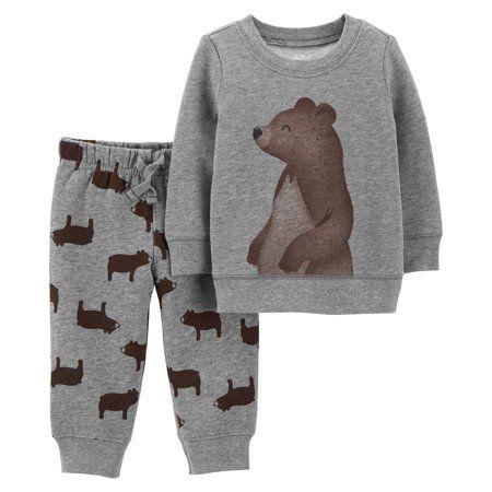 a5a71fdfc607 Long Sleeve Fleece T-Shirt & Jogger Pants, 2-Piece Outfit Set (Baby Boys),  Size: 3 - 6 Months, Brown