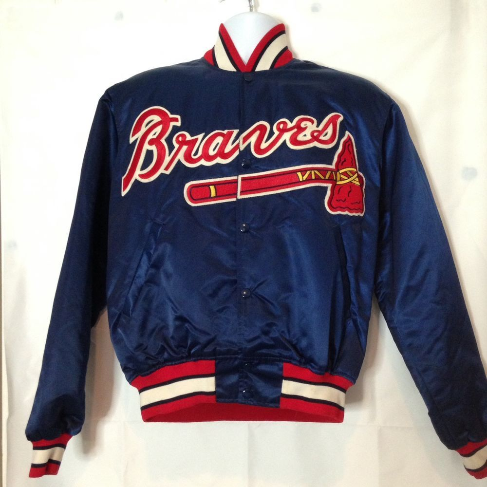 Vtg Authentic Diamond Collection Atlanta Braves Starter Jacket Mens M Satin Mlb Ebay Mens Jackets Atlanta Braves Mens Outfits