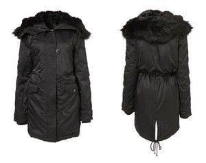 TOPSHOP Faux Fur Lined Hooded Nylon Parka Coat Drawstring Black ...