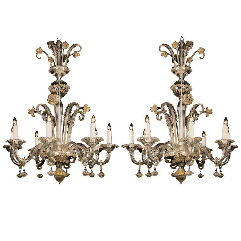 Pair Of 1stdibs Chandeliers Pendants Venetian Clear Gilt