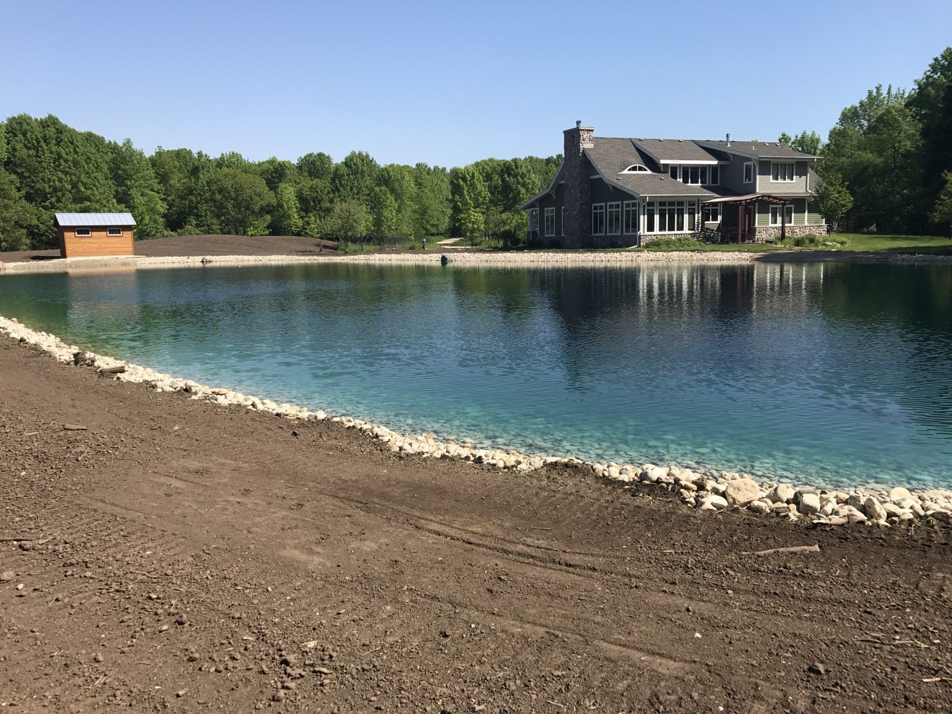 Fish Swim And Relax In This 1 2 Acre Backyard Pond Wisconsin Lake Pond Ponds Backyard Natural Swimming Ponds Farm Pond