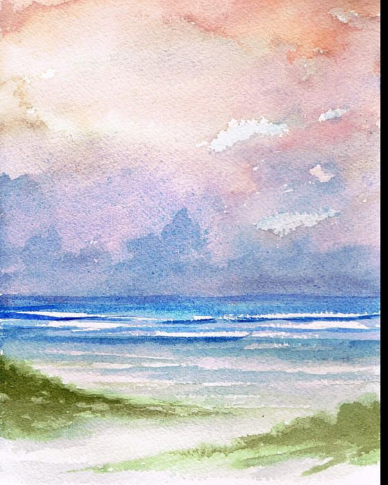 Seashore Sunset Sunset Art Watercolor Sunset Watercolor Art