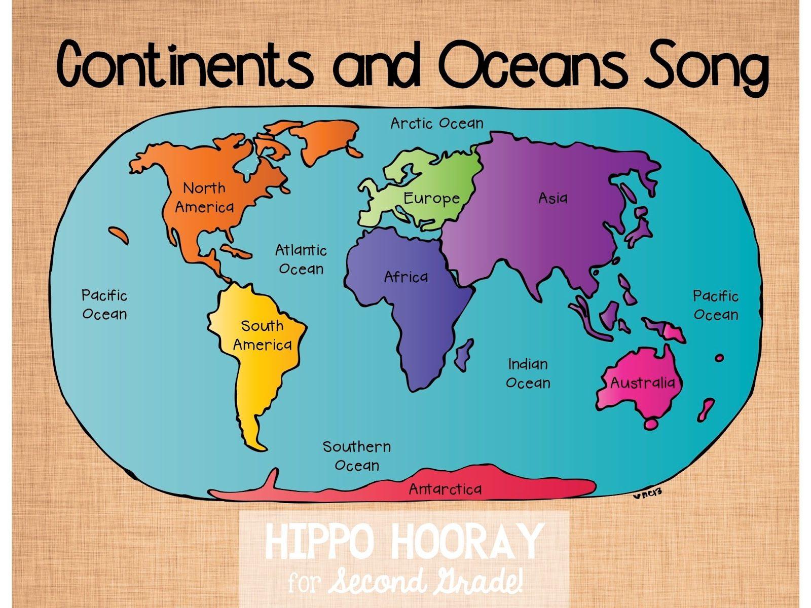 Hippo Hooray For Second Grade Continents Ocean Song And