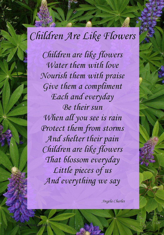 Children Are Like Flowers Framed Angela Charles Poem Like This