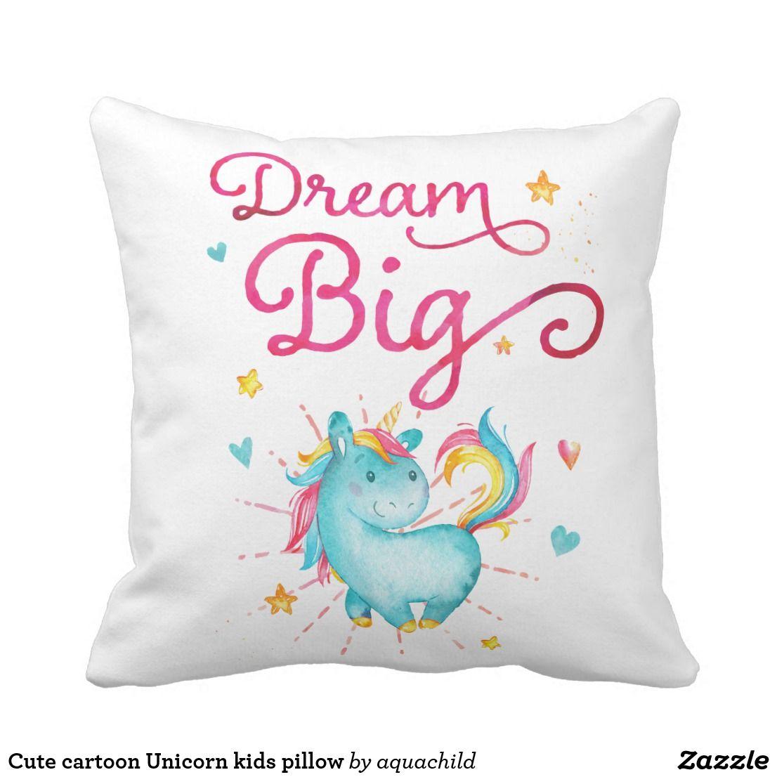 Cute cartoon unicorn kids pillow pillowspillowspillows