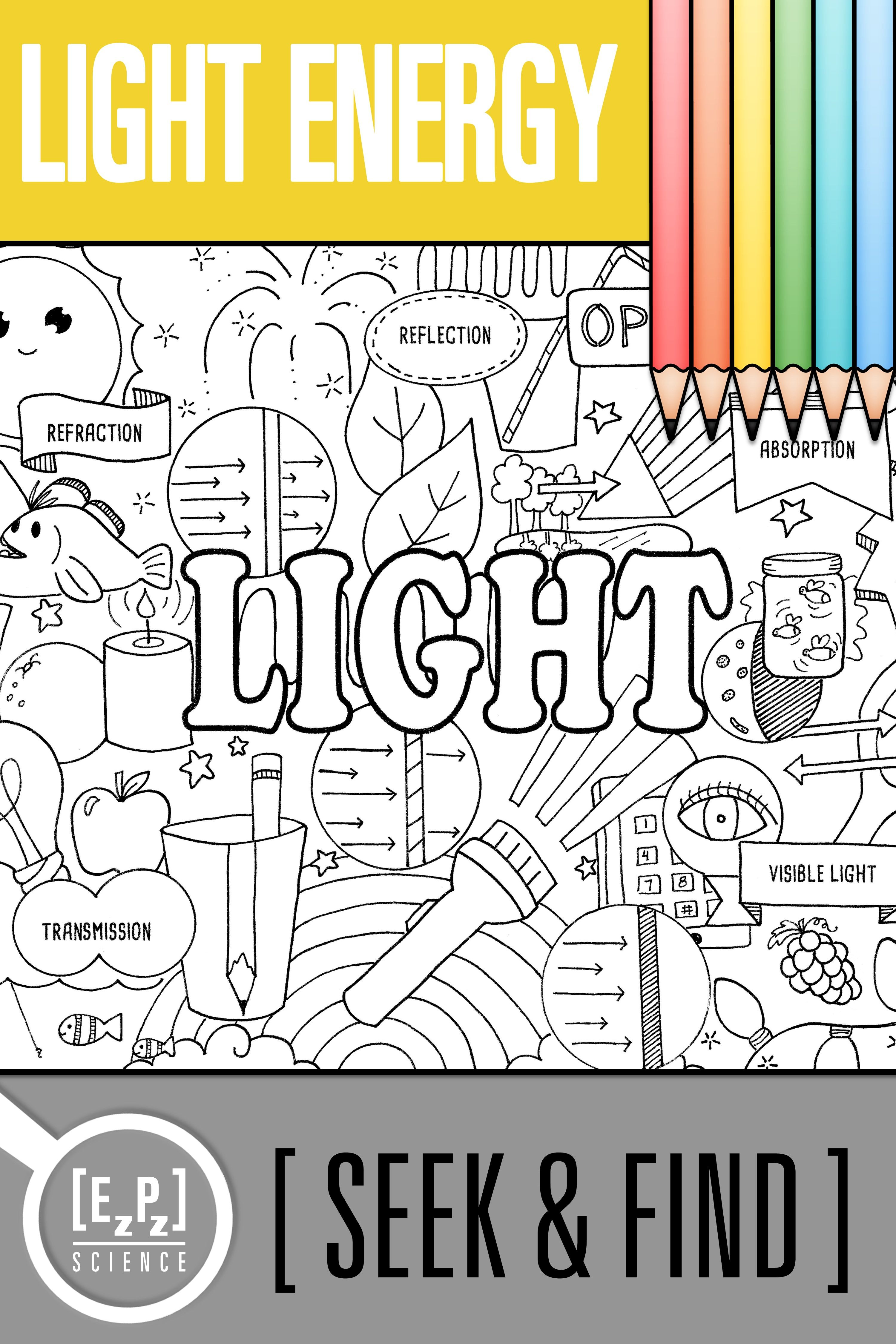 Light Energy Seek And Find Science Doodle Activity No Prep Print And Digital Science Doodles Light Energy Chemistry Classroom