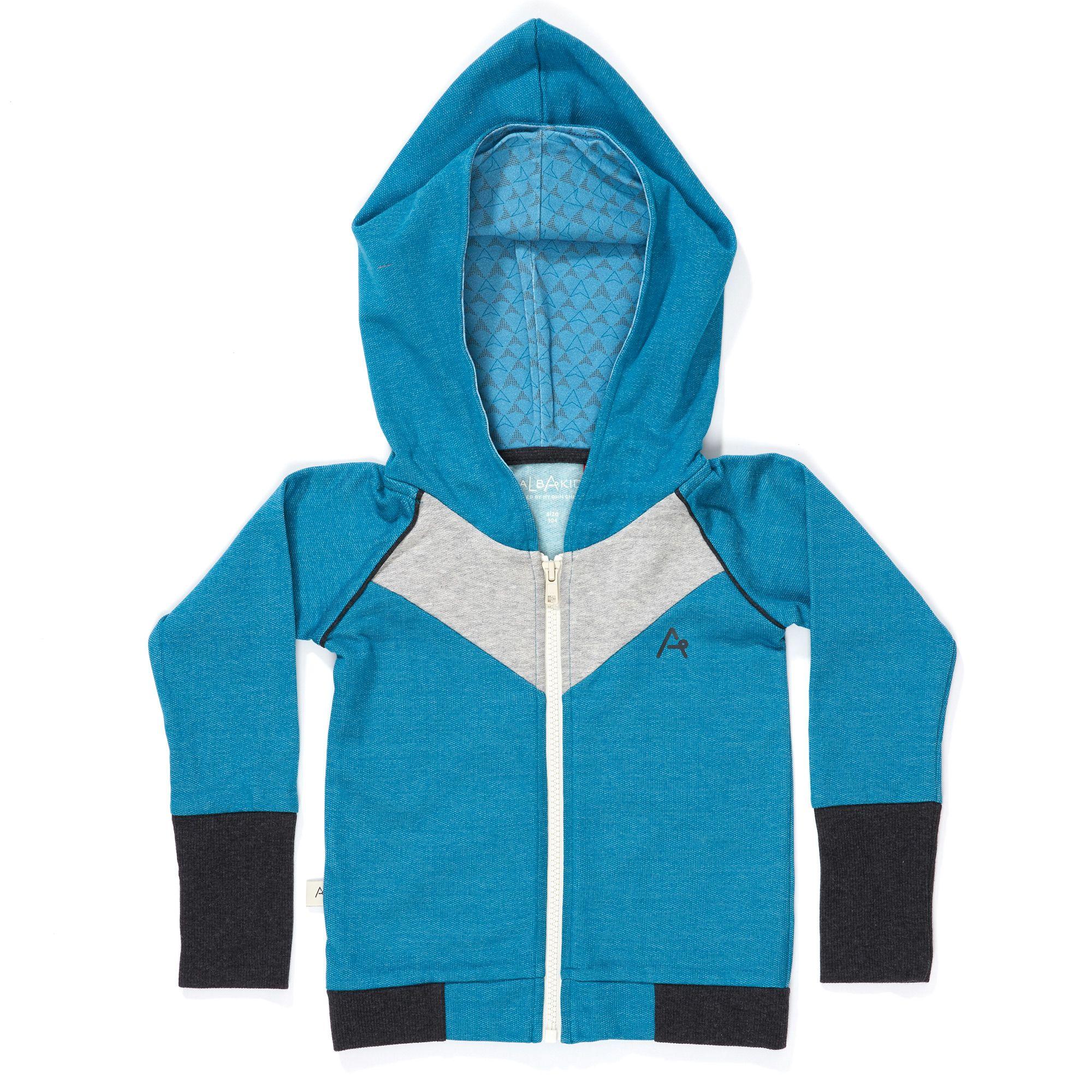 Blauer Zipper Hoodie mit Zipfelkapuze, mit kuschelig angerauhter Innenseite. Material: 100 % Baumwolle Oeko-Tex 100