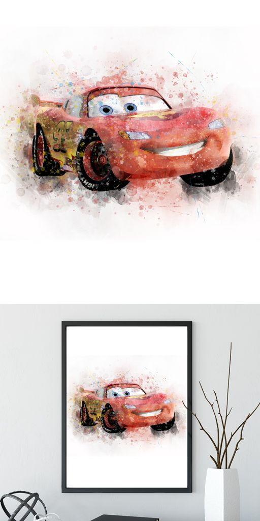 Disney Cars Mcqueen Personalised Photo Poster Print ONLY Wall Art Size A4