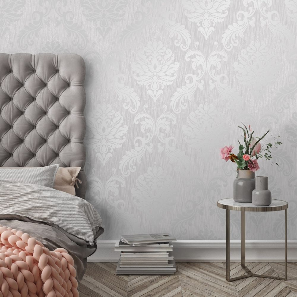 Chelsea Glitter Damask Wallpaper Soft Grey, Silver