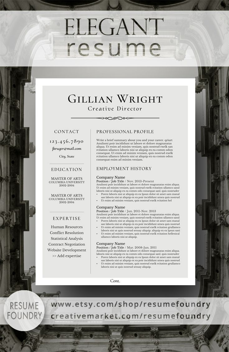 Elegant Resume Template For Word, 1-3 Page Resume + Cover Letter + Reference  Page | Us Letter | Instant Download | Gillian | Resume Template For Instant