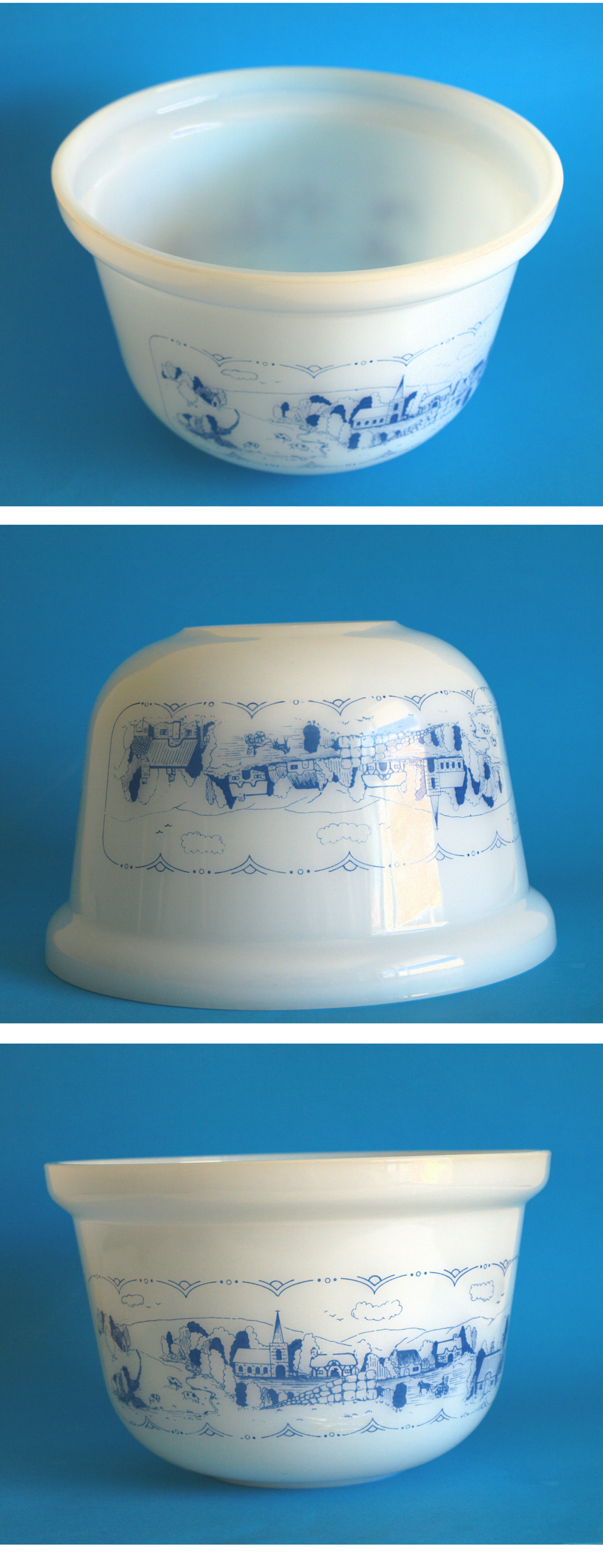 Agee Crown Pyrex Old Country Blues Deep Dish Casserole - 70s Vintage ...