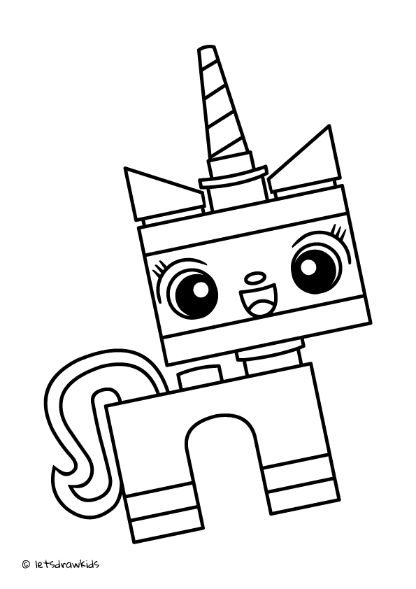 Unicorn Kitty Coloring Page