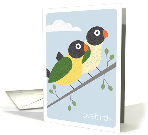 Modern Art Lovebirds Perched on a Branch, Valentine's Day card