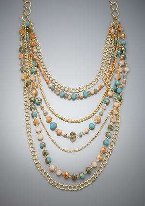 MORGAN ASHLEIGH Layered Beaded Necklace