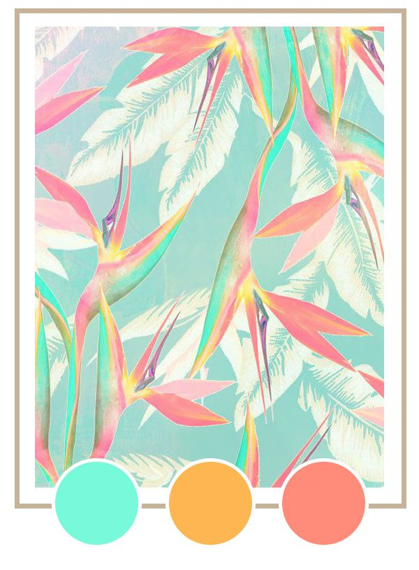 My Summer Color Palette Vintage Tropical Coco Kelley Summer Color Palette Prints Pattern Wallpaper