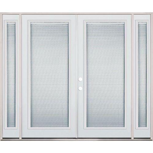 8 0 Wide Miniblind Full Lite Steel French Patio Double Door Unit With Sidelites Sliding French Doors Patio French Doors Patio Doors
