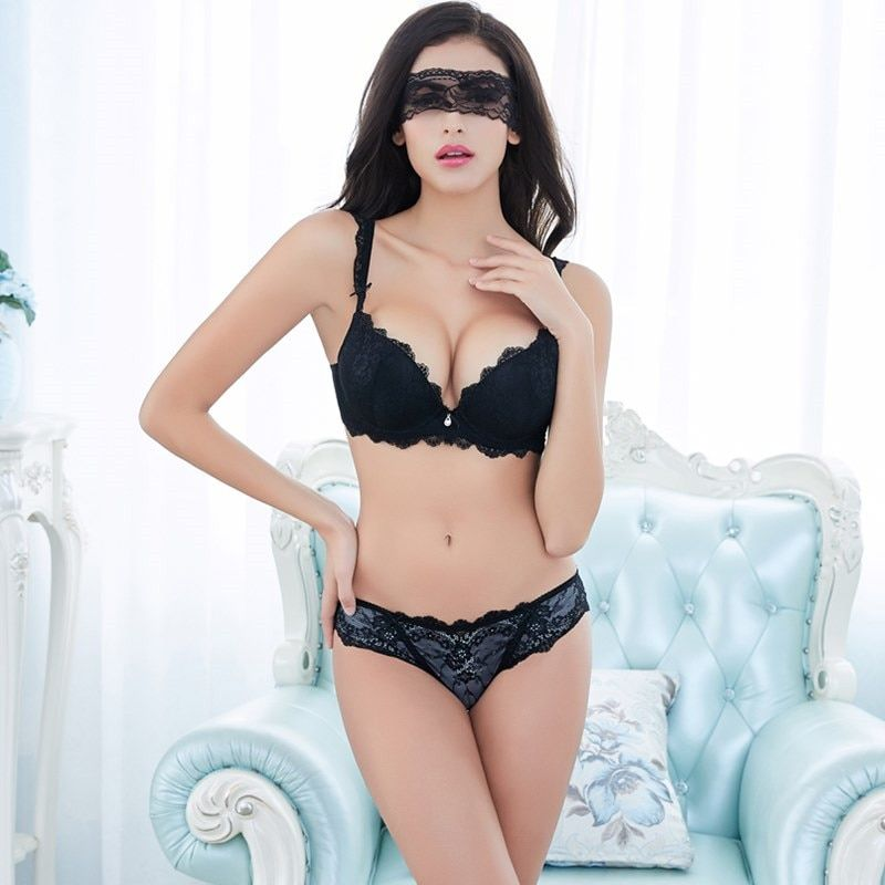 79b6b5630f03e New Europe Girl Sexy Lace Bra Set Gather Adjustable Underwear Sets For Women  A B C Cup