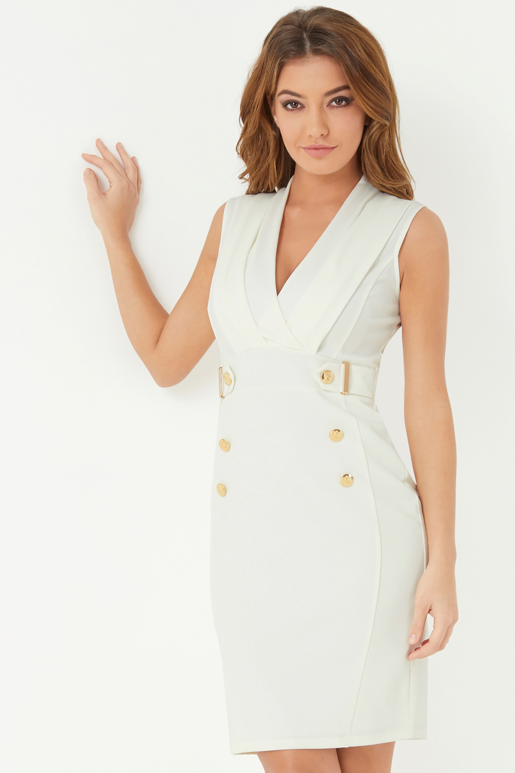 5dcd2b11c961a Womens Lipsy Tuxedo Button Detail Bodycon Dress - White | Products ...