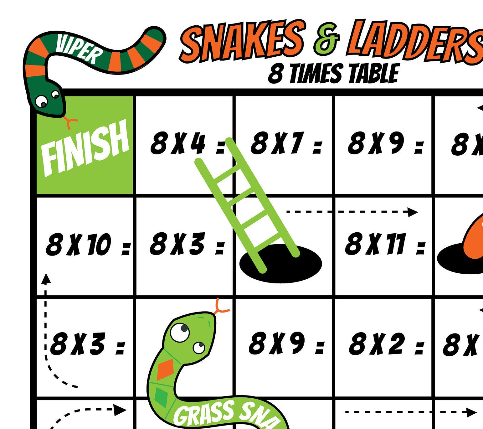 Snakes And Ladder 8 Times Table Board Game Kids Printable