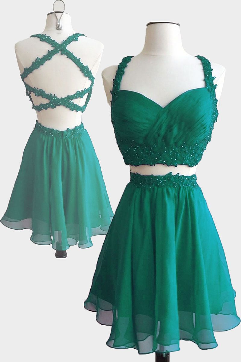 Green 2 piece homecoming dress  Green two pieces short prom dress cute homecoming dress  Dream