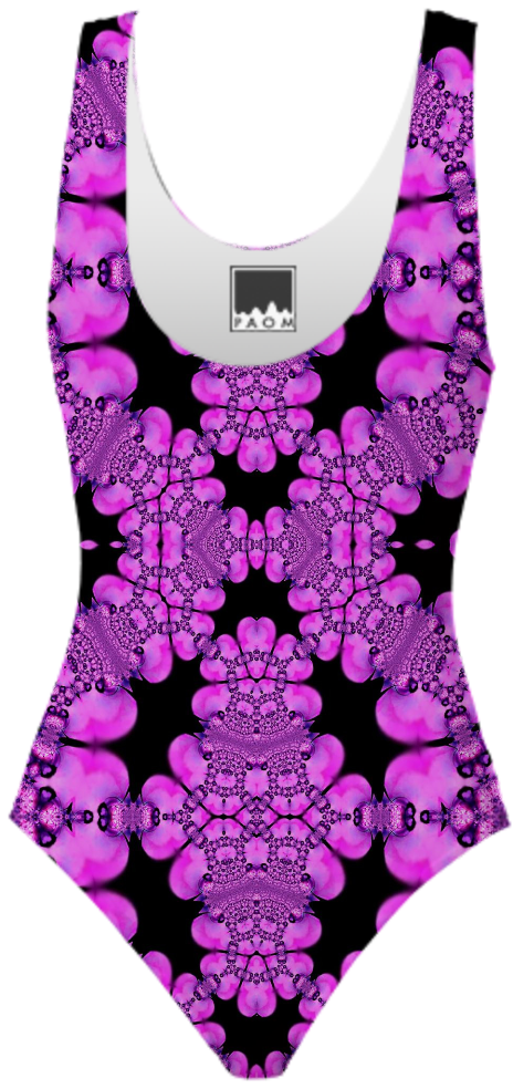 Pink Black Abstract Swimsuit from Print All Over Me