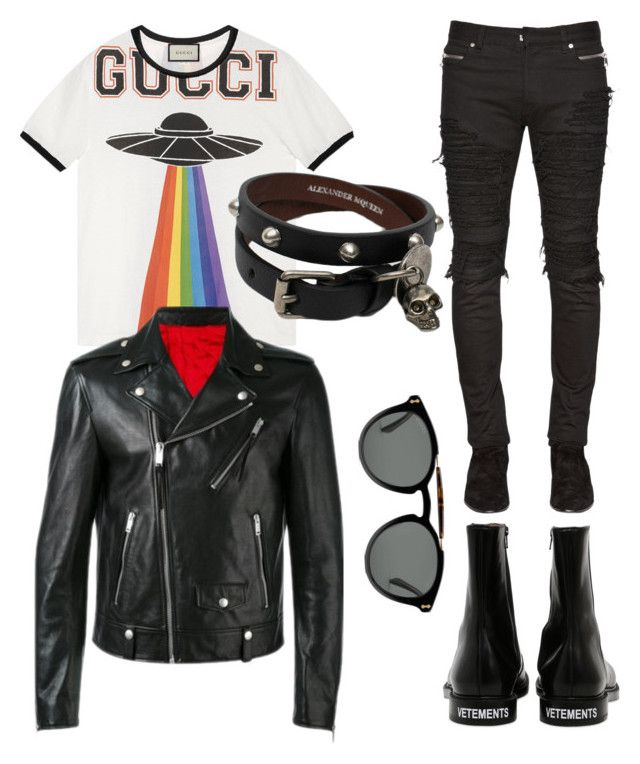 """""""Rockinstyle"""" by juanjoduarte ❤ liked on Polyvore featuring Gucci, Alexander McQueen, Balmain, Vetements, men's fashion and menswear"""
