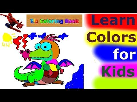 Learn Colors For Kids With 1 Hour Baby Learn Colors Song Nursery Rhymes Learning Video Share This Vide Learning Colors Coloring For Kids Dragon Coloring Page