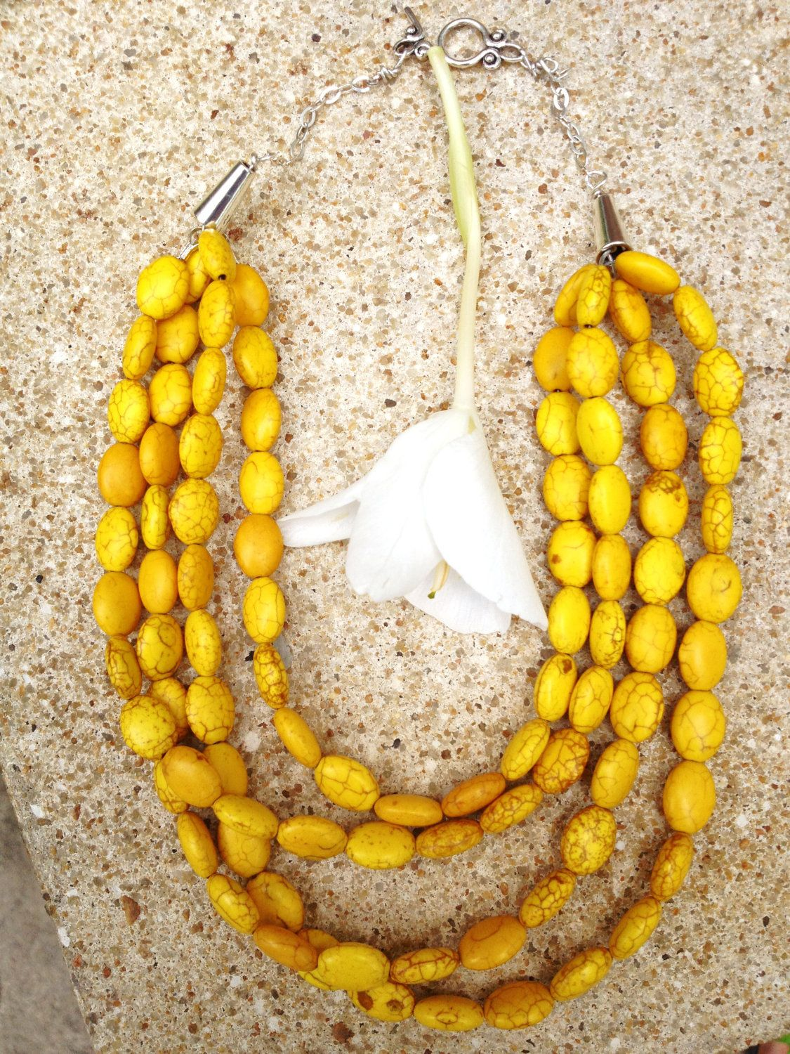 Yellow Turquoise Necklace, Yellow Necklace, Yellow Bead Necklace, Yellow Stone Necklace, Yellow Multi-Strand Necklace. $30.00, via Etsy.